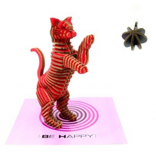 Tenon Art Be Happy Cat (Red, not assemble)